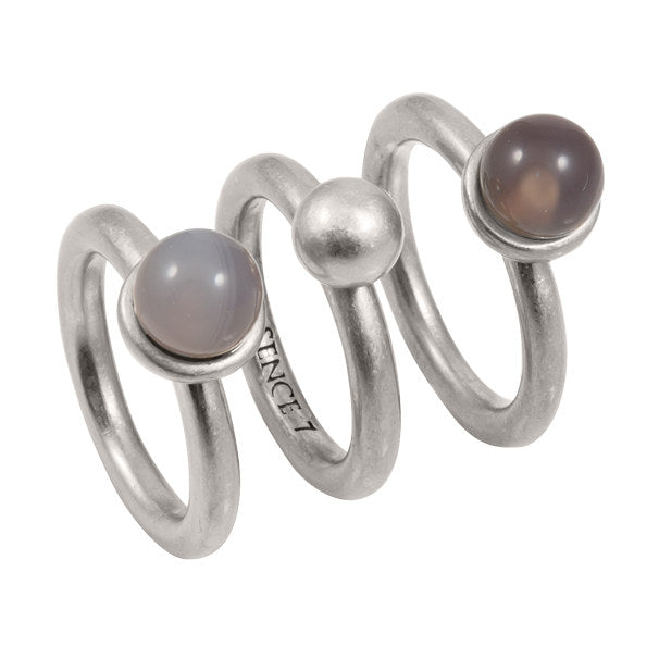Sence Copenhagen Grey Agate Ring Set in worn silver Z347