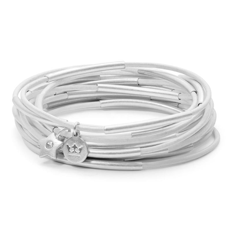 Sence Copenhagen Jewellery Urban Gypsy Light White Leather Matt Silver K884