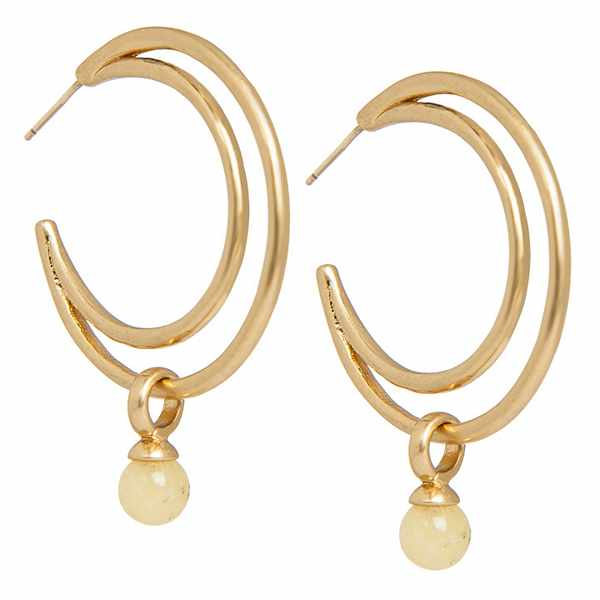 Sence Copenhagen Knowledge Earrings Rose Yellow Jade Worn Gold Crescent P786