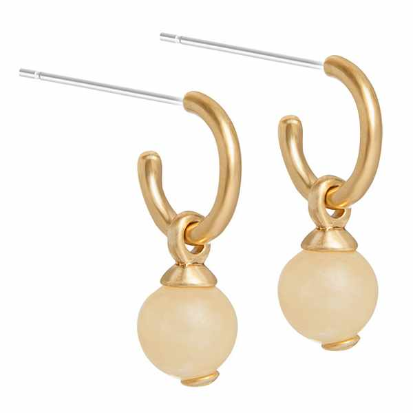 Sence Copenhagen Knowledge Earrings Rose Yellow Jade Worn Gold P788