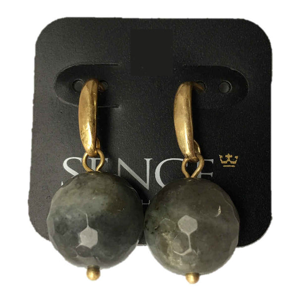 Sence Copenhagen Labradorite Earrings Worn Gold Z051