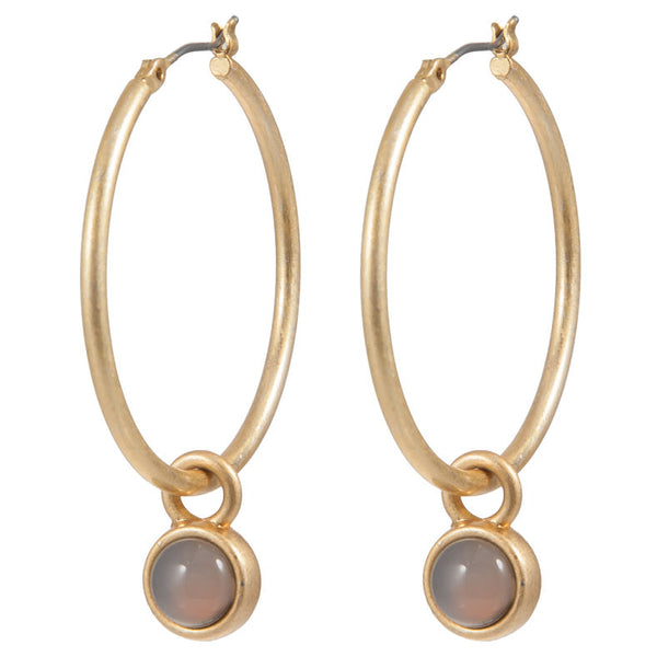 Sence Copenhagen Open Destination Earrings Grey Agate worn Gold Z098