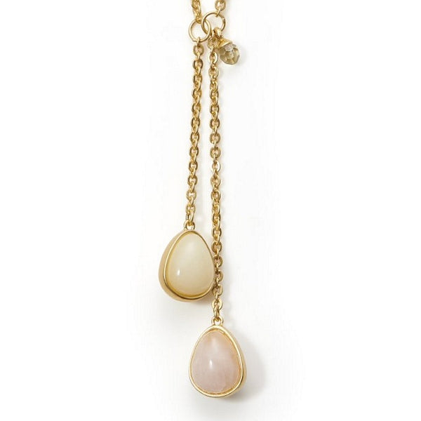 Sence Copenhagen Raindrops Necklace Rose Quartz Matt Gold K554 detail