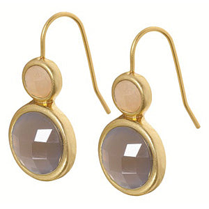 Sence Copenhagen Signature Earrings Grey Agate & Labradorite Worn Gold A062