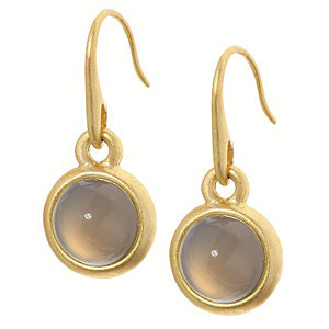 Sence Copenhagen Signature Earrings Grey Agate Worn Gold A042