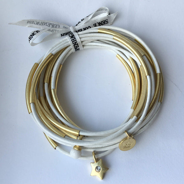 Urban Gypsy Bracelet White worn gold