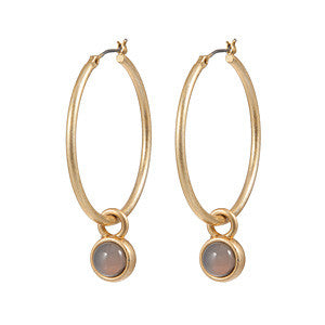 OD earrings Grey Agate worn gold