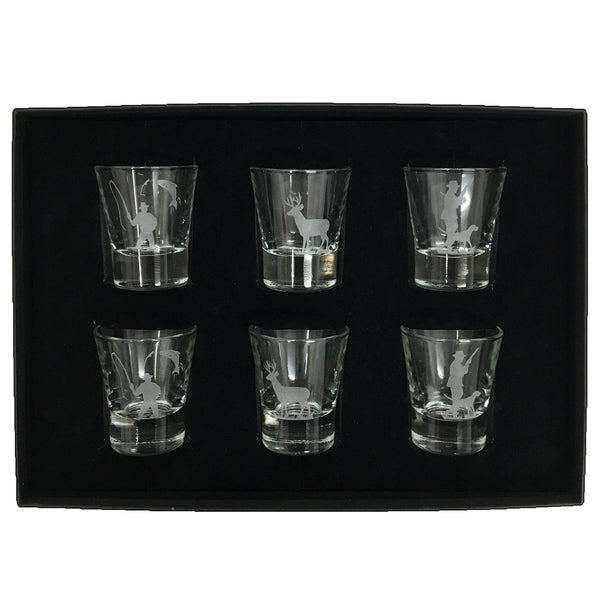 Tot Glasses Set of 6 - engraved with sporting scenes