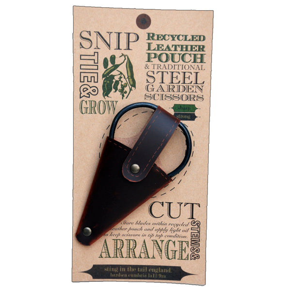 Small Gardening Scissors in Leather Pouch