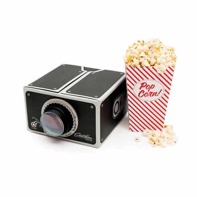 Smartphone Projector home movie setup with popcorn