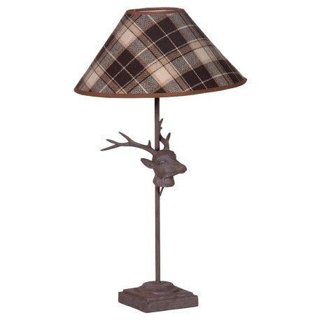 Stag's Head Lamp with Tartan Shade