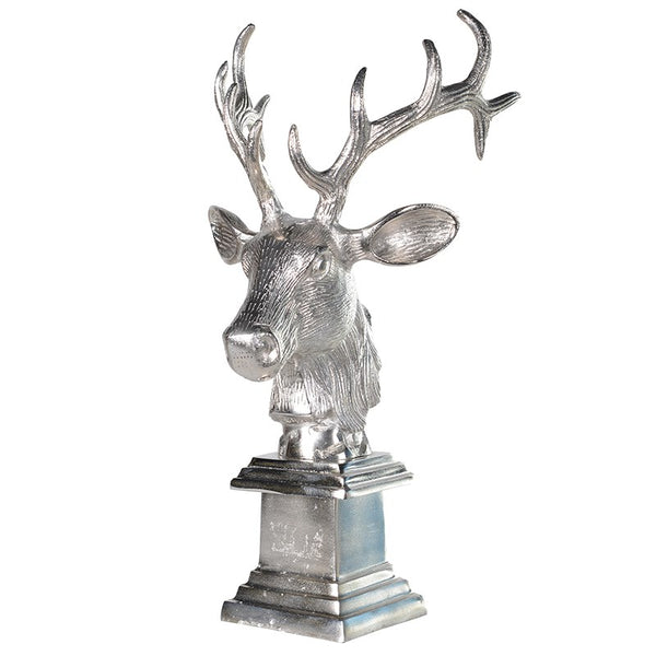 Deer Stag's Head Ornament On Plinth