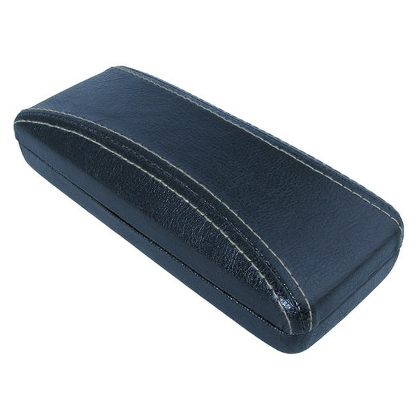 Stitched Aged Leather-look Glasses Case Black