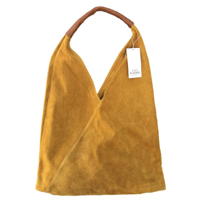 Suede Slouch Bag in Gorse Yellow front