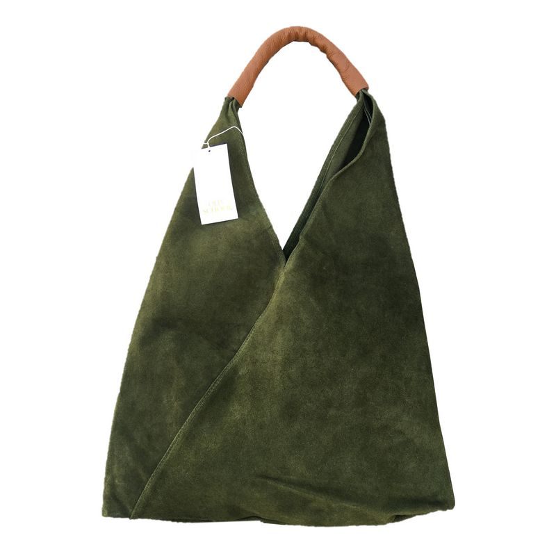 Suede Slouch Bag in Moss Green