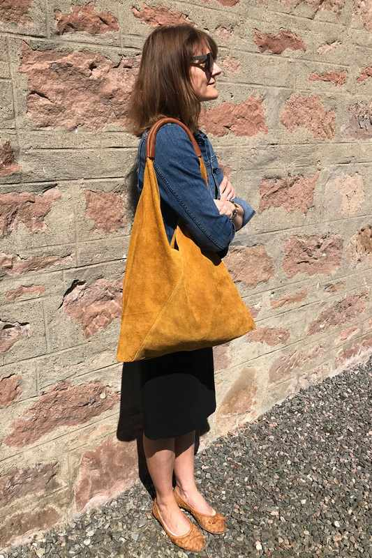 Suede Slouch Bag in Gorse Yellow on model
