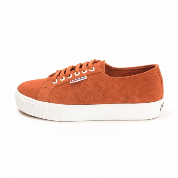 Superga 2730 Rusty Brown Suede Flatform Trainers side