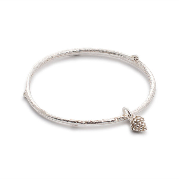 I Love a Lassie Jewellery, made in Scotland, Bird's Nest Sterling Silver Twig Bangle With Pine Cone