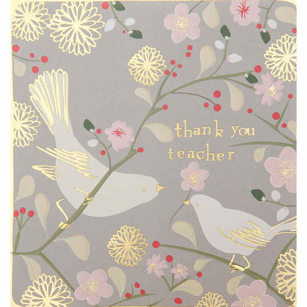 Thank You Teacher Card - Kimono Grey - kim016