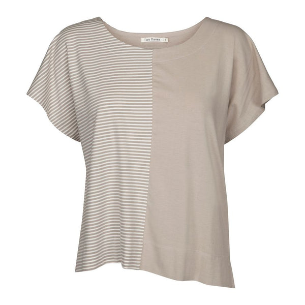 Two Danes Clothing Blakely Top in Dove & Soft White Stripes 34743-S393_302 front