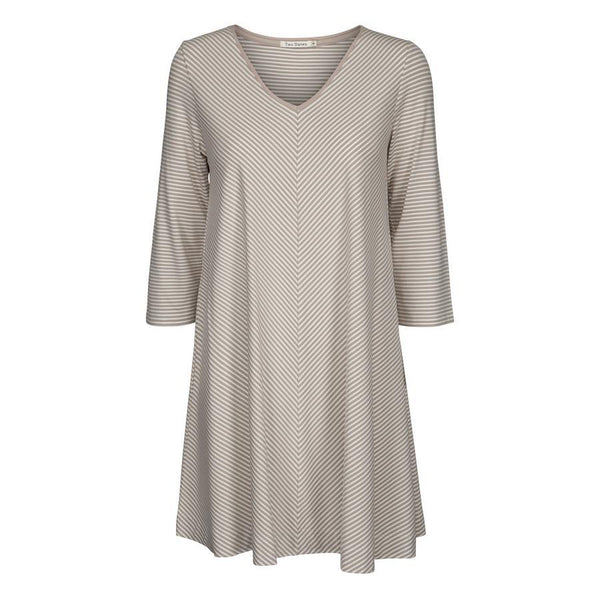 Two Danes Clothing Bryce Tunic in Dove & Soft White Stripes 33793-S393_302 front