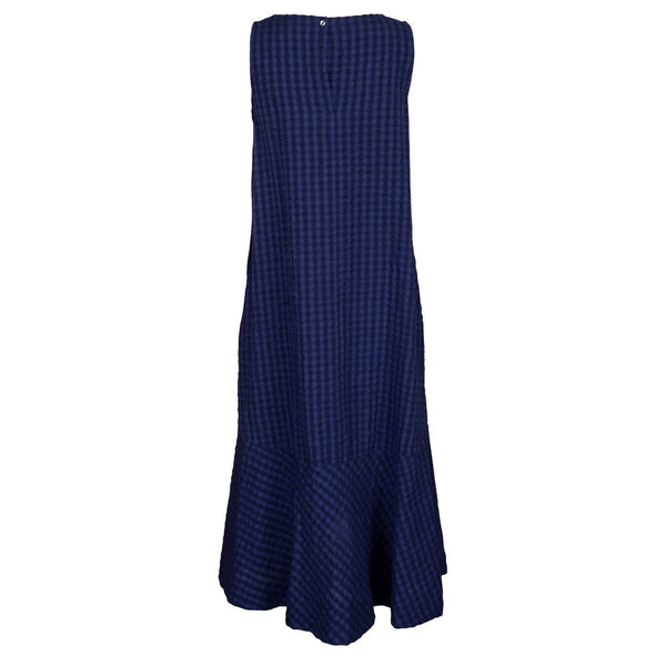 Two Danes Clothing Sienna Dress in Blue Check 33596-C377 back