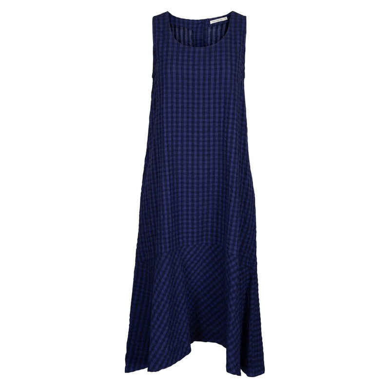 Two Danes Clothing Sienna Seersucker Dress in Blue Check 33596-C377 front