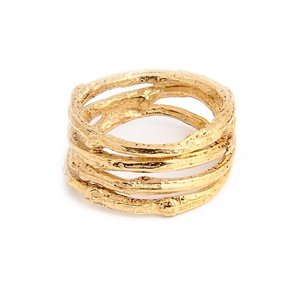 I Love a Lassie Jewellery Bird's Nest Yellow Gold Wide Twig Ring