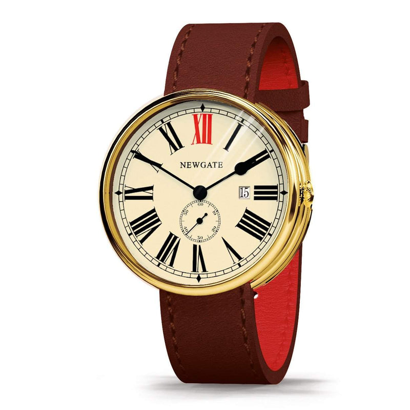 Newgate Watches - The Ship Watch - Brass Case, Brown Strap at angle