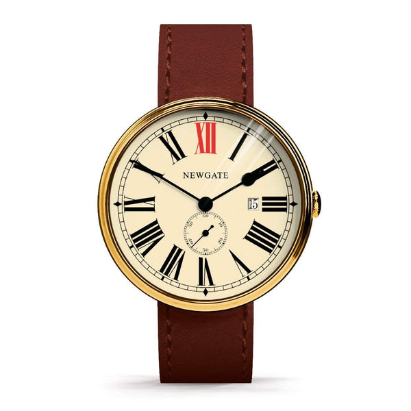 Newgate Watches - The Ship Watch - Brass Case, Brown Strap