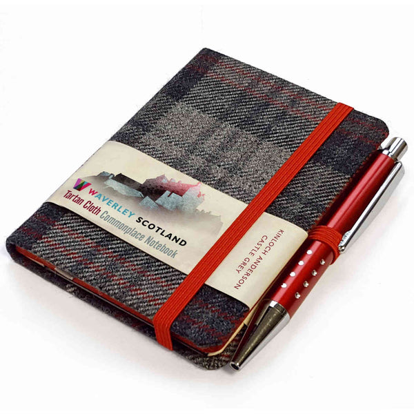 Waverley Scotland Tartan Cloth Mini Notebook and Pen Castle Grey