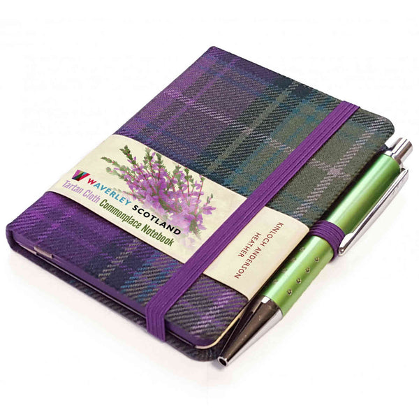 Waverley Scotland Tartan Cloth Mini Notebook and Pen Heather