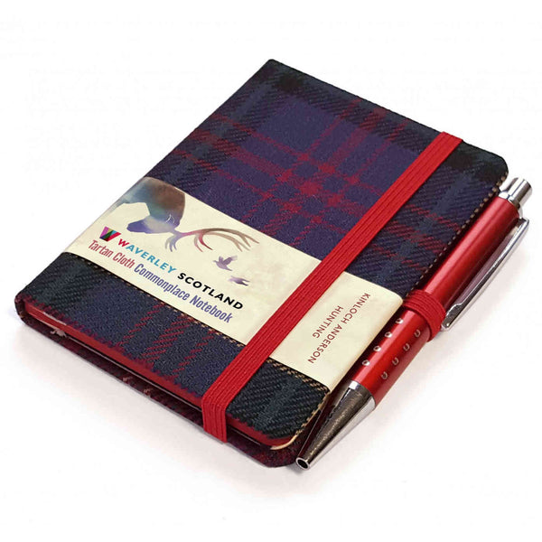 Waverley Scotland Tartan Cloth Mini Notebook and Pen Hunting Grey