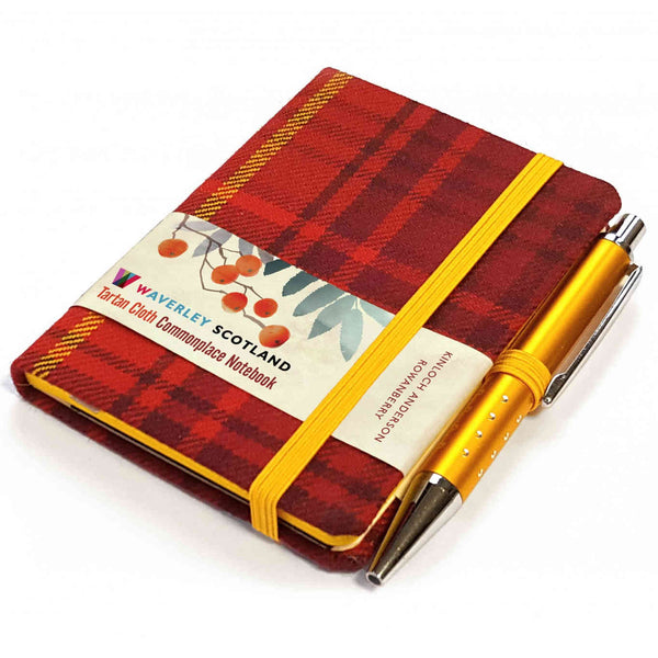 Waverley Scotland Tartan Cloth Mini Notebook and Pen Rowanberry