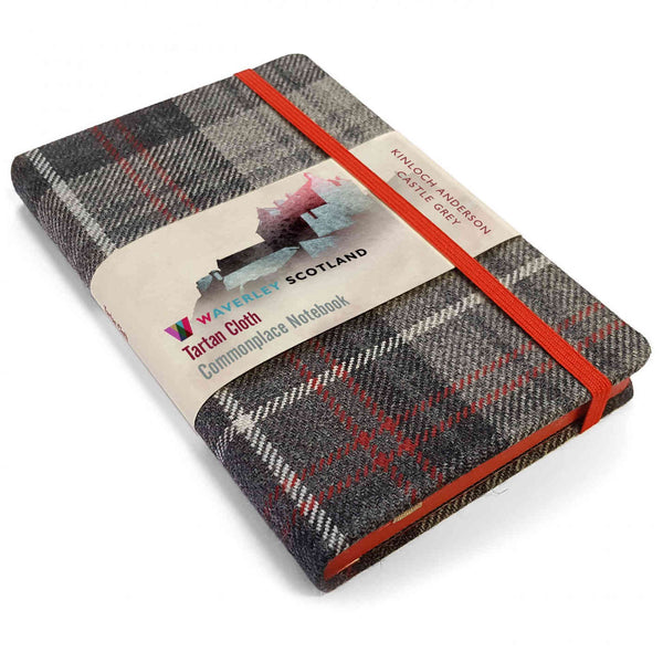 Waverley Scotland Tartan Cloth Notebook Castle Grey