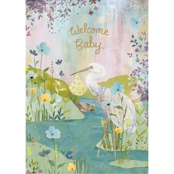 Welcome Baby Greetings Card - White Stork GC2153