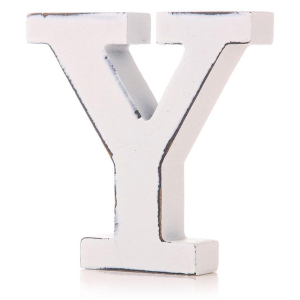 White Wooden Letter 11cm - Y