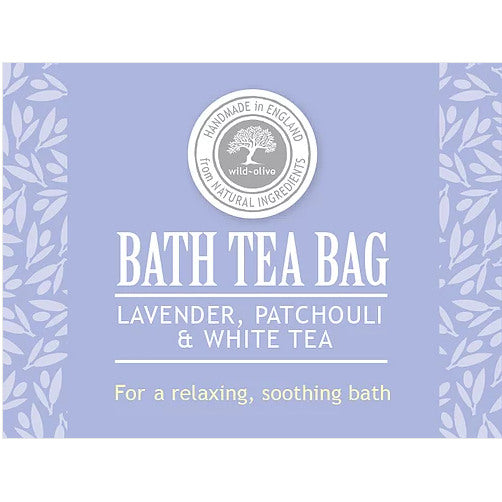 Wild Olive Bath Tea Bag Lavender Patchouli & White Tea label