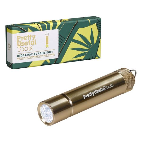 Wild & Wolf Pretty Useful Tools Hideaway Flashlight Gold PUT026 box and torch on