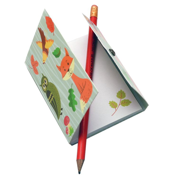 Woodland Mini Magnetic Notepad 402274 fox & bird open