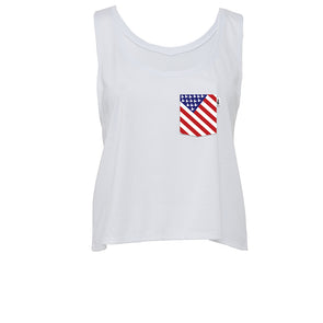 American Mouse Crop Tank, White