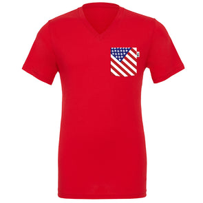 American Mouse V-Neck Tee, Red