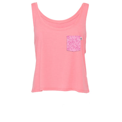Daisy Bows Crop Tank, Hot Pink
