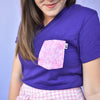 Daisy Bows V-Neck Tee, Purple