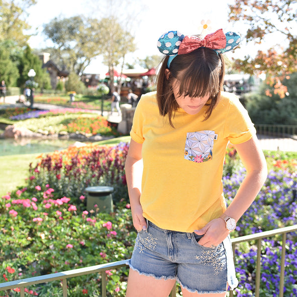Flower & Garden Crew Tee, Heather Yellow
