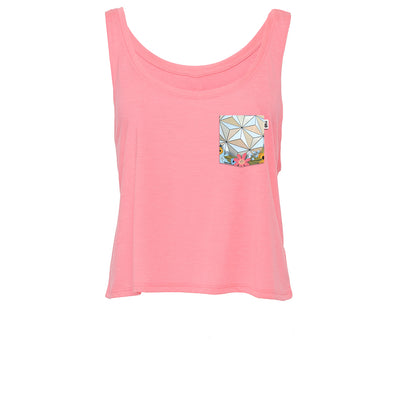 Flower & Garden Crop Tank, Hot Pink