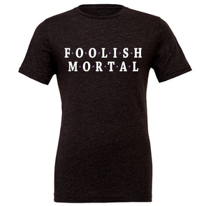 Foolish Mortal Crew Tee, Heather Black