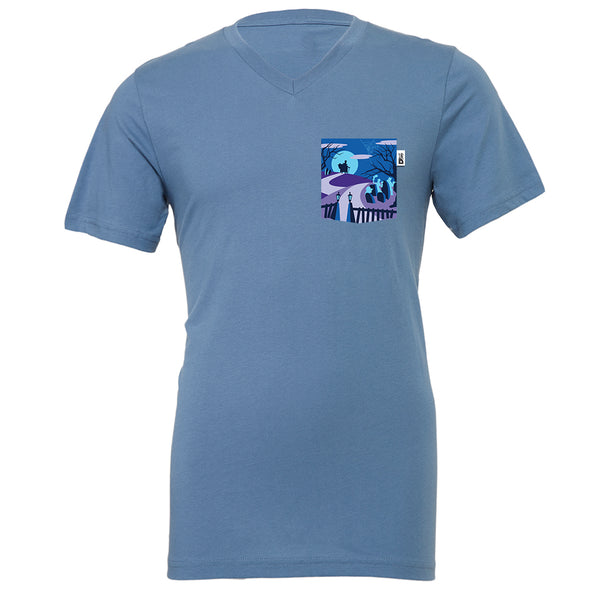 Happy Haunts V-Neck Tee, Steel Blue