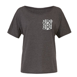 High Four Slouchy Scoop Tee, Heather Dark Grey