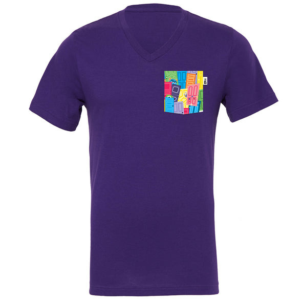 Monsters V-Neck Tee, Purple